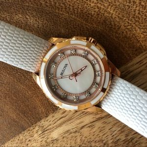 Bulova white leather watch with diamond details